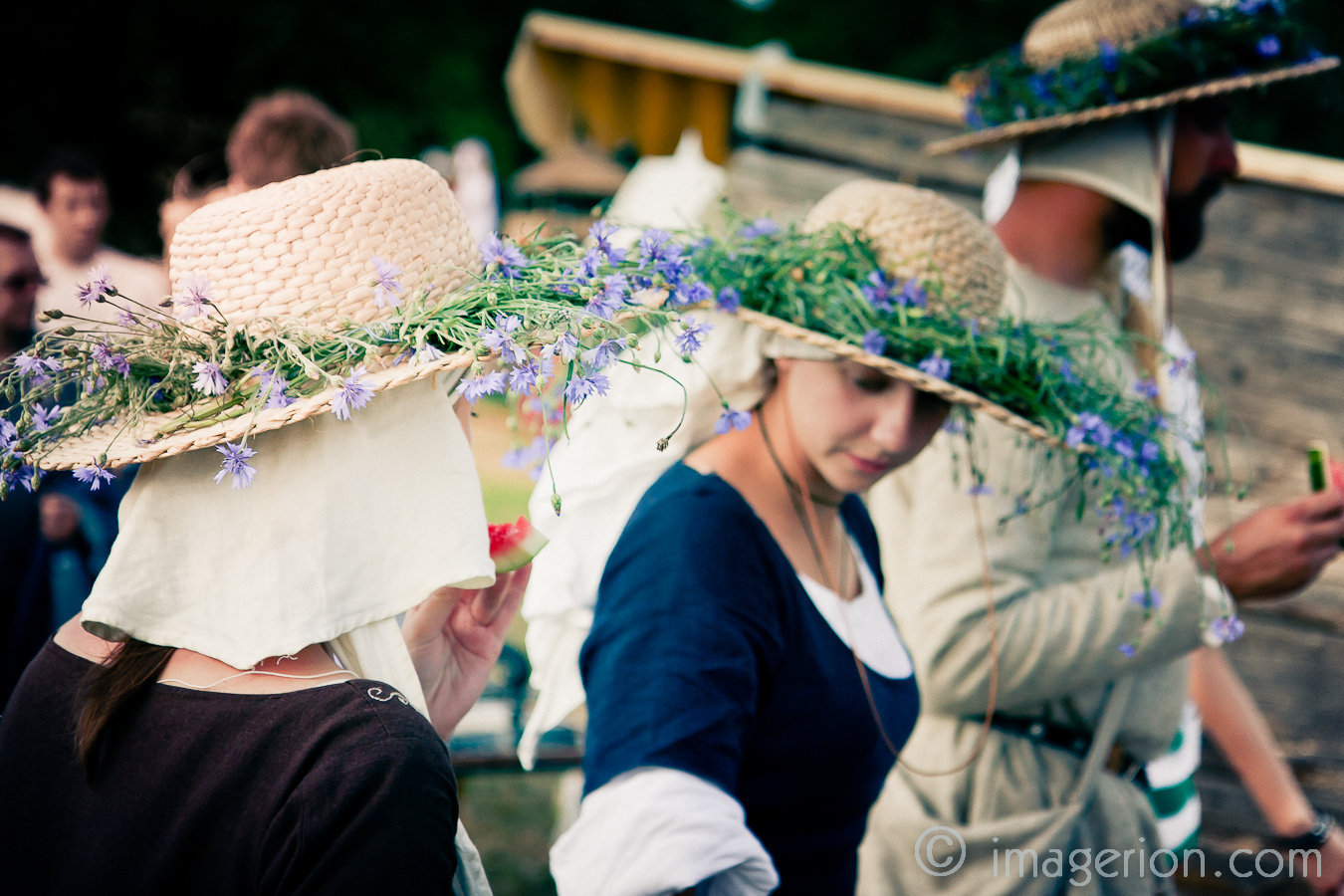 Hats decorated with flowers