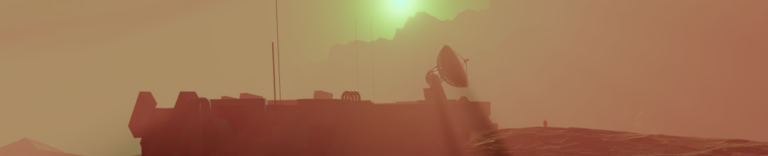 Sunset on Mars, space base radar dish and an astronaut standing near for the scale