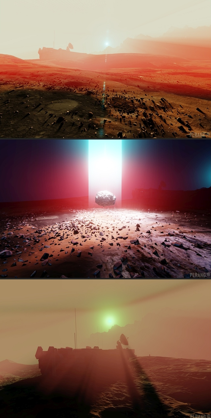 Collage of three images illustrating the Martian landscape with a space base and a radar dish, energy portal and another space base view in the dusty sunset on Mars