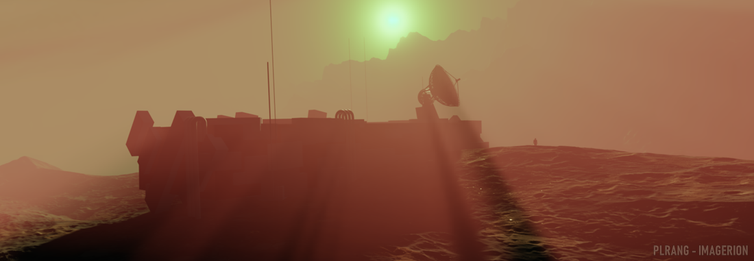 Sunset view of the space base on Mars with a radar dish