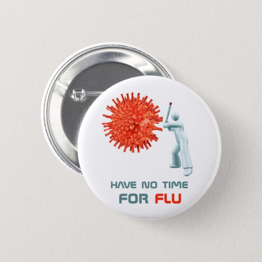 Pin button with a cartoon character beating the virus