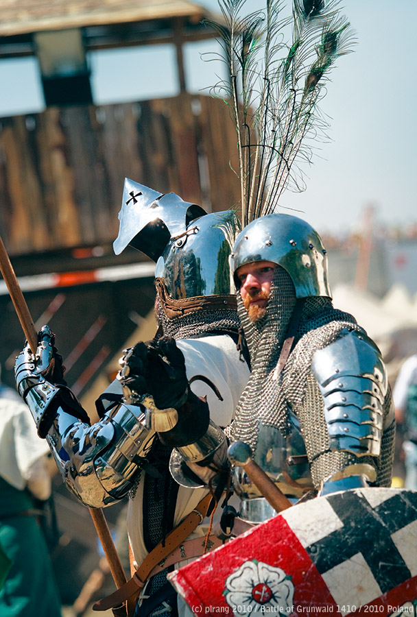 Editorial photo of two reenactors wearing Teutonic Knights armors