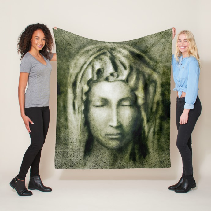 Virgin Mary on a large blanket