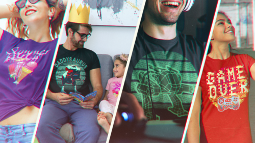 4 Tshirt designs: summer party, dadasaurus, retro computer graphics and game over