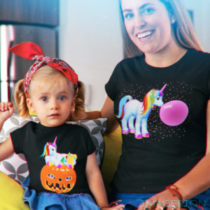 Mom and doughter wearing the cool unicorn shirts