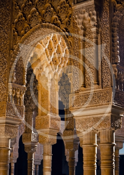 Columns in Courtyard of the Lions – Alhambra / Spain