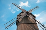 Image of mill. Wooden Windmill