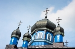 Image of church. Orthodox church domes in Puchly / Poland