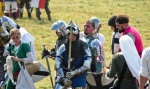 Image of knight. Knights and crusaders tired after the Battle of Grunwald 1410 reenactment