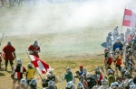 Image of battle. Clash in smoke, Polish, Lithuanian Knights battle vs Teutons