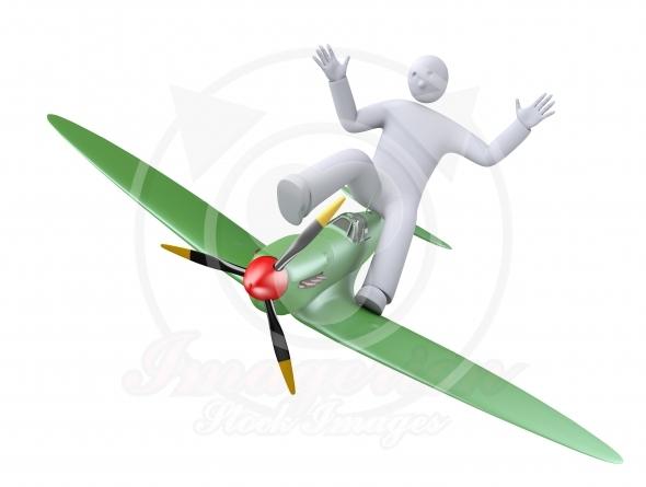 Cartoon airplane flying
