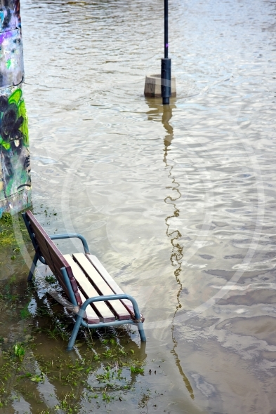 Bench in the water – the flood