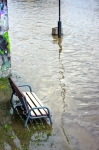 Image of bench. Bench in the water – the flood
