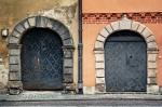 Image of door. Double arched  door