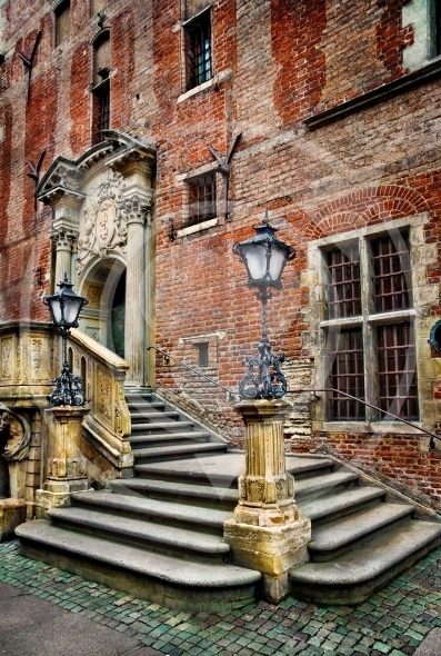 Old town hall stairs and lanterns, enhanced