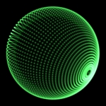 Image of dots. Green sphere dots