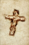 Image of exorcism. Vintage Holy Cross paper background
