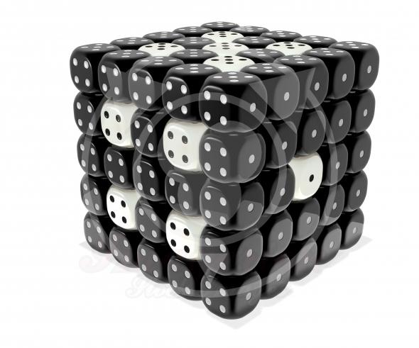 Dice cluster – Black n white plastic