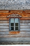 Image of window. Window in old wooden house