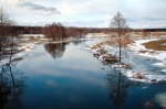Image of river. Freezing Masurian river