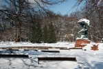 Image of Chopin. Frederic Chopin statue in winter