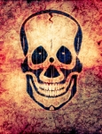Image of skull. Radioactive skull