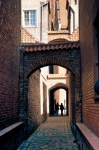 Image of door. Church Path – Arched passage in Elblag City, Poland