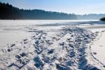Image of Masuria. Frozen lake snow trails
