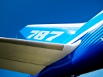 Image of Dreamliner. Tail and wing of 787 Boeing Dreamliner