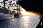 Image of sailing. Tall ships MIR, SEDOV, Stern of Krusenstern in Gdynia