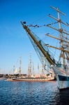 Image of ships. Tall ship  MIR and Krusenstern in port at Culture 2011 Tall Ships Regatta