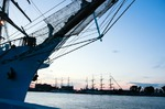Image of sailing. Tall ship Dar Mlodziezy in port
