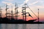 Image of sailing. Tall ships Krusenstern and Gulden Leeuw