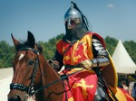 Image of knights. Medieval Knight on horseback at the Battle of Grunwald festival