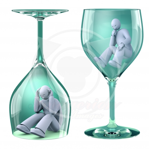 Alcoholic trap, man in a glass