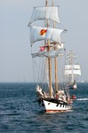 Image of brabander. Brabander – sailing vessel on open sea during Culture 2011 Tall Ships Regatta