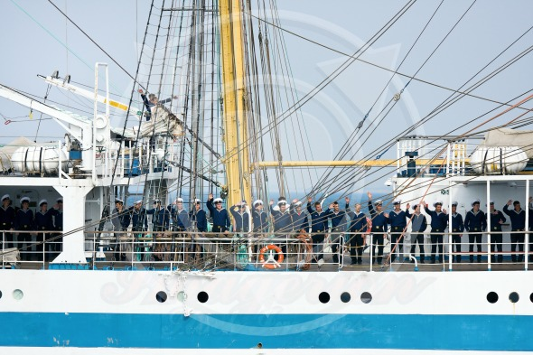 Crew members of tall ship MIR greeting audience