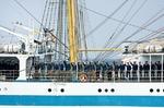 Image of mir. Crew members of tall ship MIR greeting audience