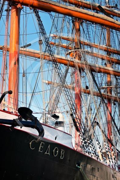 Tall ship Sedov rigging