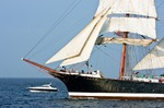 Image of regatta. Tall ship Sedov on open sea, at Culture 2011 Tall Ships Regatta