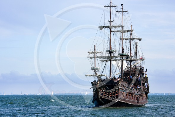 Classic Cruise Ship heading back to port. Gdynia, Poland