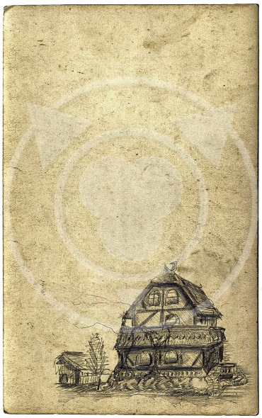 Old paper, pencil drawing of the house