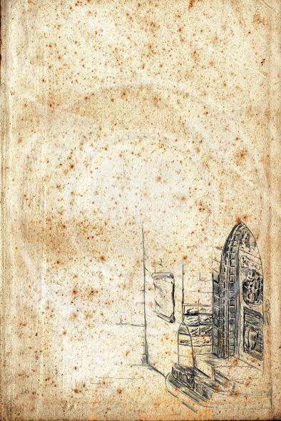 Old paper with pencil drawn door
