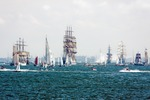 Image of sailing. Sailing ships on the haigh seas: 'Dar mlodziezy', 'Sedov', 'Dar pomorza'