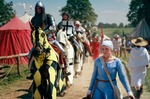 Image of medieval. Woman and Knights