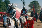 Image of knights. Mounted Knights cavalcade – 600th anniversary Battle of Grunwald