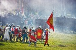 Image of teutons. Teutons under attack at Battle of Grunwald 1410 reconstruction