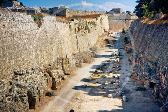 Rhodes, Greece. Ruins of Grand Master's Palace
