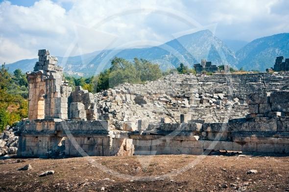Ancient amphitheatre ruins in Tlos / Turkey