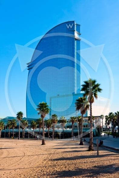 "Barcelona,  blue ""W"" hotel landmark"